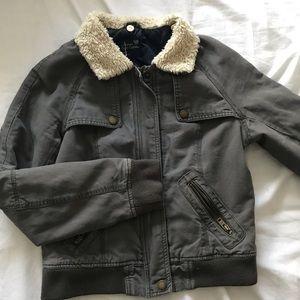 American Eagle Sherpa collar grey bomber jacket